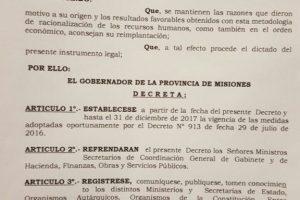 Passalacqua extendió decreto de contención del gasto y de ingreso de personal en el Estado