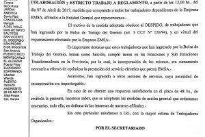 Gremio de Luz y Fuerza inicia un quite de colaboración en Emsa por salarios y despidos
