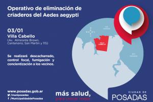 Posadas: intensifican operativos de limpieza y prevención del dengue en Villa Cabello