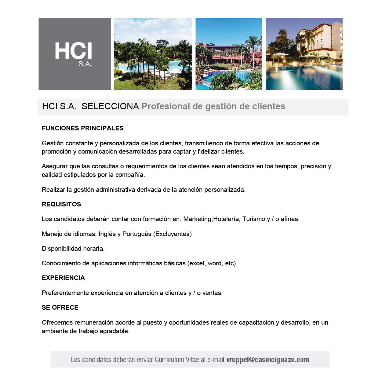 Casino Iguazu Selecciona Profesional De Gestion De Clientes Economis