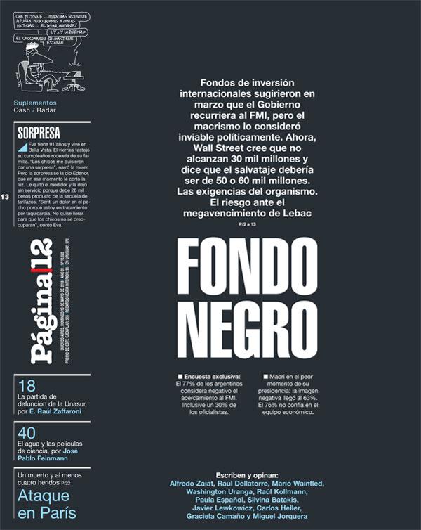 Las portadas del domingo: Notable tapa de Página 12, como en sus mejores épocas; todos los análisis por el FMI