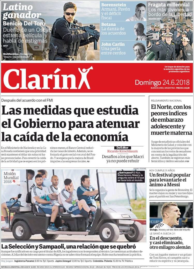 Las tapas de los diarios del domingo: Las internas de la Selección y los planes del Gobierno con la economía