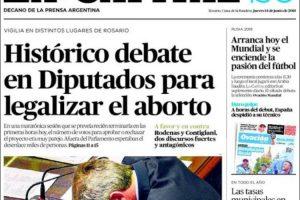 Las tapas del jueves 14/6: El debate sobre la despenalización del aborto y la fiesta del mundial