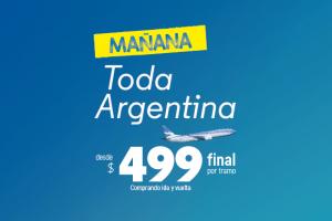 Aerolíneas Argentinas ofrecerá pasajes desde $499 para volar a todo el país