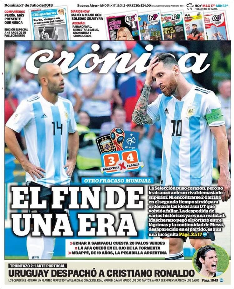 Las tapas de los diarios del domingo: Siamo fuori de la Copa