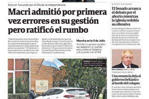 Las tapas del martes 10/7: Los errores de Macri y la ratificación del rumbo