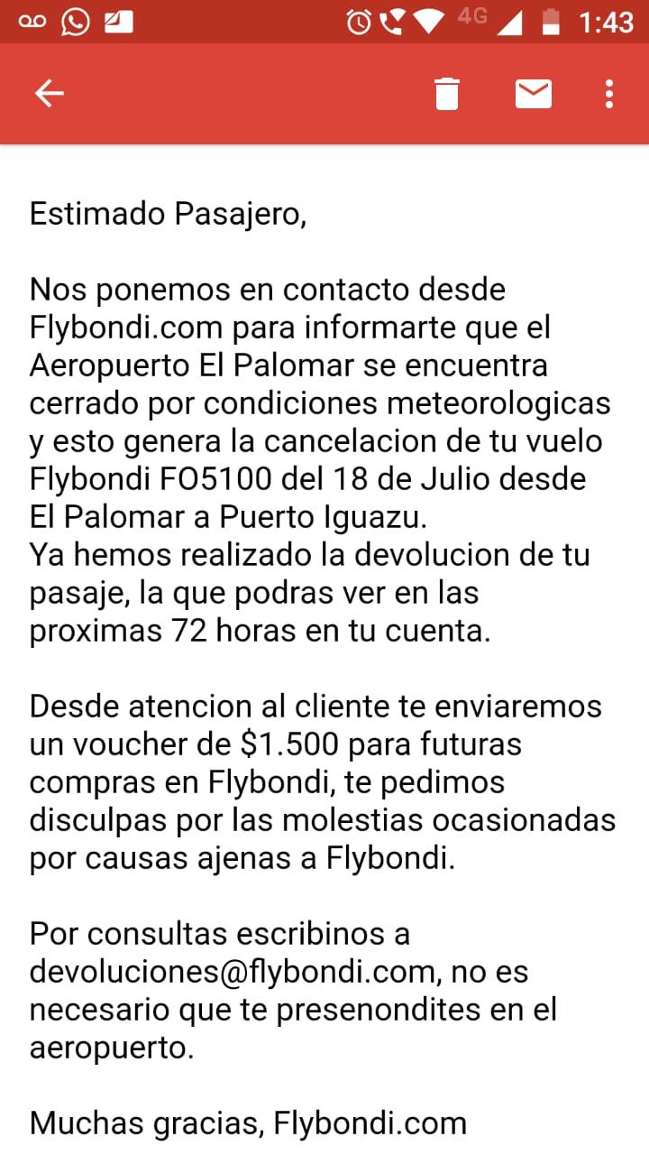 Flybondi canceló todos los vuelos de El Palomar