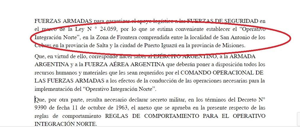 Operación Integración Norte: Aguad ordenó desde mañana el despliegue de militares en Iguazú para apoyar a las fuerzas de seguridad