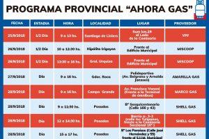 Cronograma del programa Ahora Gas del 25 al 28 de septiembre