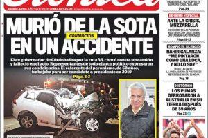 Las tapas del domingo 16 de septiembre: La muerte de De La Sota y la victoria de Los Pumas