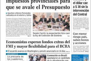 Las tapas del viernes 7/9: La pelea por la recaudación de las provincias, antes que el debate del presupuesto