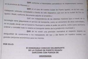 Ingresó al Concejo de Iguazú el proyecto que busca regular la llegada de Uber