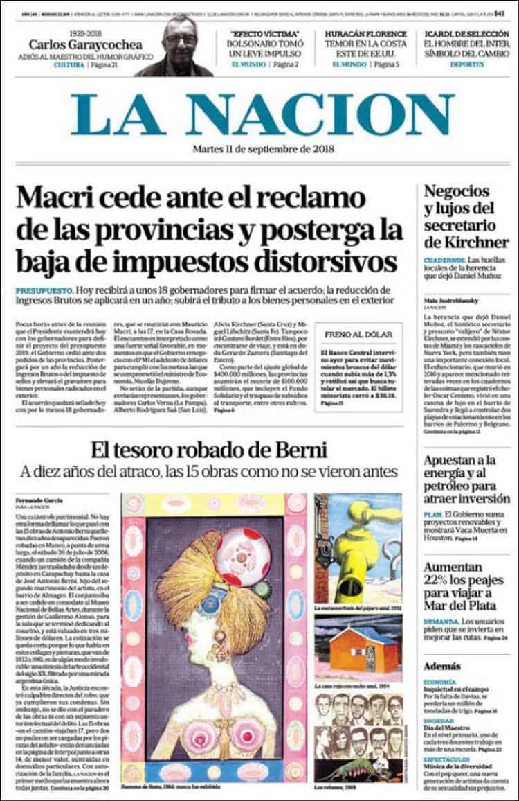 Las tapas del martes 11/9: El «día D» de Macri para aprobar el Presupuesto y avanzar con el FMI