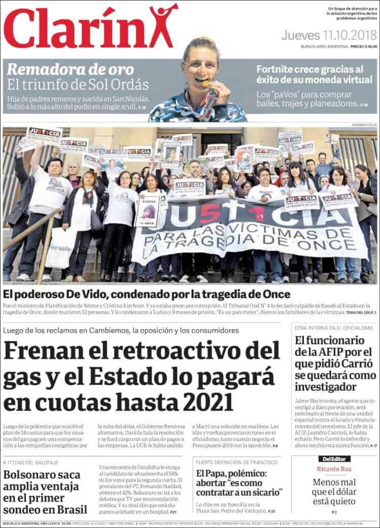 Las tapas de los diarios del jueves: Marcha atrás con la compensación por el gas y condena a De Vido