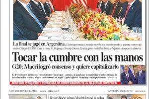 Las tapas del domingo 2 de diciembre: La foto de Trump y Xi en Buenos Aires y el cierre del G-20