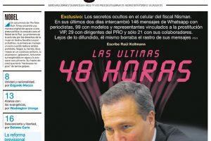 Las tapas de los diarios del domingo: Página 12 publicó los últimos whatsapp de Nisman, muchos mensajes a periodistas y modelos