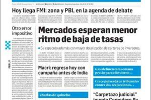 Las tapas del lunes 11 de febrero: Llega la misión del FMI para monitorear las cuentas