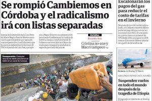 Las tapas del martes 12 de marzo: La fractura de Cambiemos en Córdoba y otro triunfo agónico del Halcón