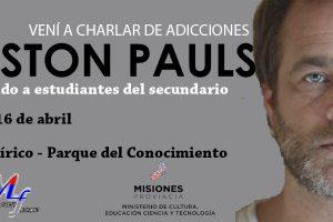 Gastón Pauls vuelve a Posadas para charlar con alumnos misioneros sobre adicciones