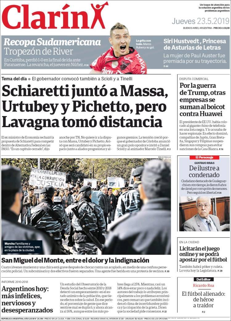 Las tapas del jueves 23 de mayo: El portazo de Lavagna en el Peronismo Federal