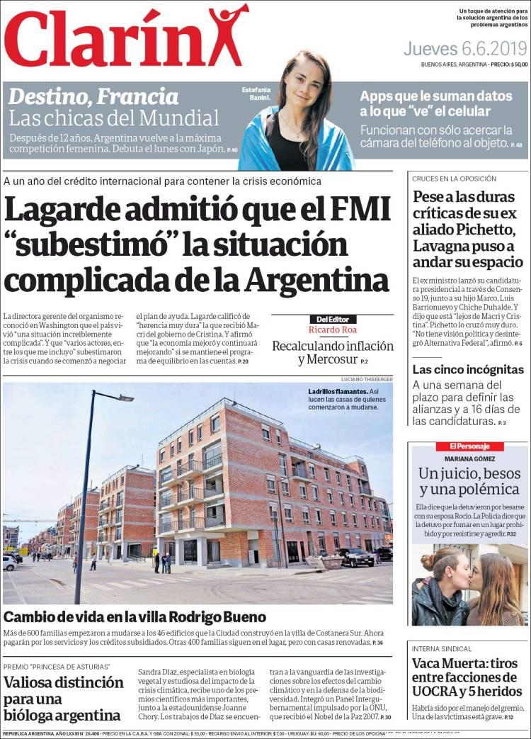"""Las tapas del jueves 6 de junio: La mala """"estimación"""" de Christine Lagarde de la economía argentina"""