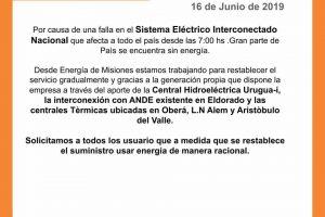 Apagón general: Energía de Misiones intenta restablecer el servicio eléctrico con generación propia