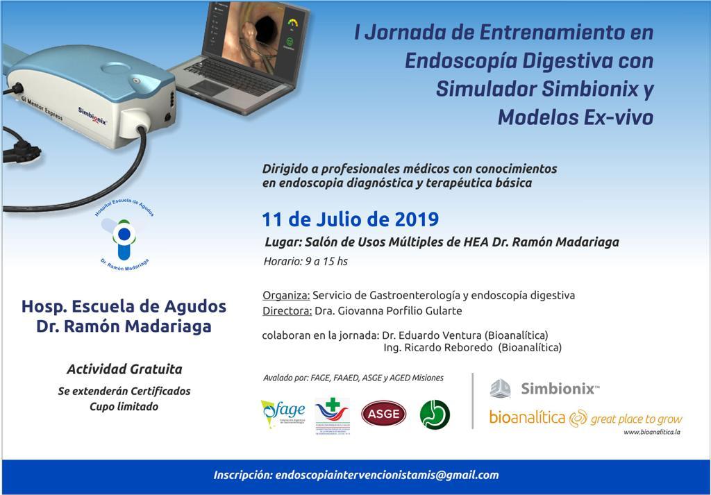Hospital Escuela: Realizarán la I Jornada de Entrenamiento en Endoscopía Digestiva con Simuladores Simbionix y modelos Ex Vivo