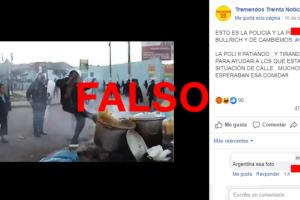 No, esta foto no es de un supuesto policía pateando una olla en la Argentina, circula desde 2012 en Perú