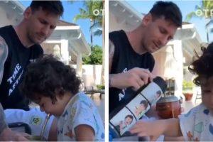 Embajador de lujo: Además de ser bien matero, Messi le inculca el hábito a sus hijo de 1 año