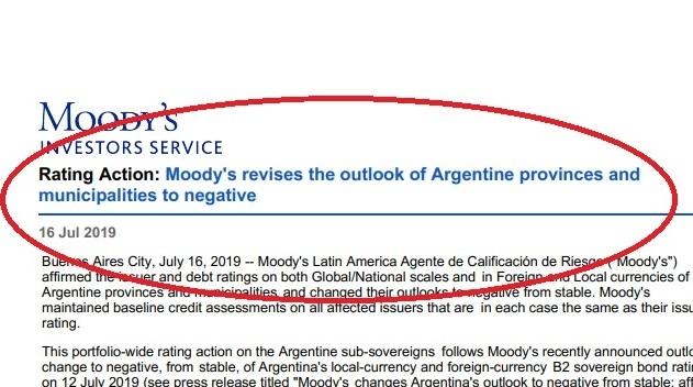 Por «culpa» de la Nación, Moody's le bajó la nota a Misiones y a otras siete provincias