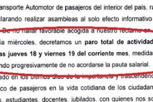 La UTA amenazó con paro de colectivos el jueves y viernes si no llegan a un acuerdo esta semana