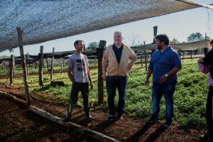 Passalacqua visitó una chacra donde realizan cultivo bajo cubierta en Roca Chica