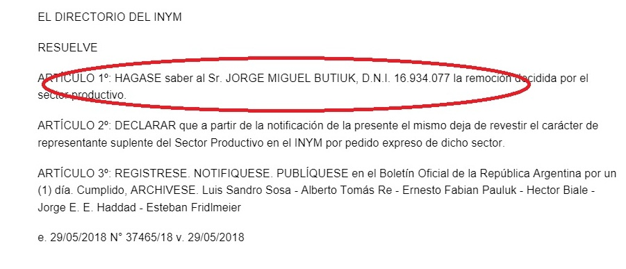 El INYM publicó hoy en el Boletín Oficial la remoción de Jorge Butiuk como director suplente