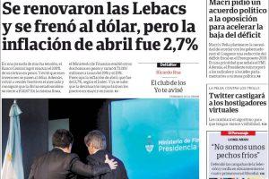 Las tapas de los diarios del miércoles 16/5: El alivio de Cambiemos y la inflación