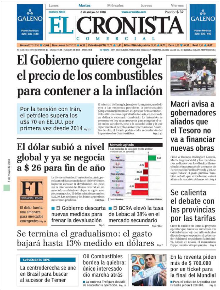 Las tapas de los diarios del martes 8/5: La ratificación del tarifazo y la expectativa por el dólar