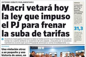 Las tapas de los diarios del jueves 31: El debate de las tarifas y la ilusión Argentina del mundial