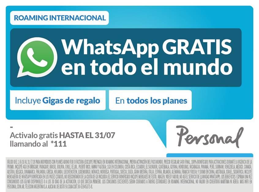 Personal presenta su promoción Mundial en roaming internacional: whatsapp gratis en todo el mundo