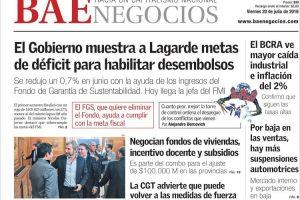 Las tapas del viernes 20/7: La llegada de Lagarde y como será el ajuste en las provincias
