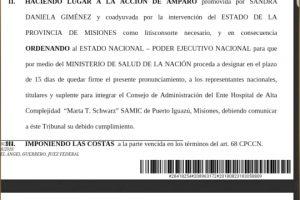 La Justicia intimó al Gobierno nacional a que retome las obras del hospital Samic de Iguazú