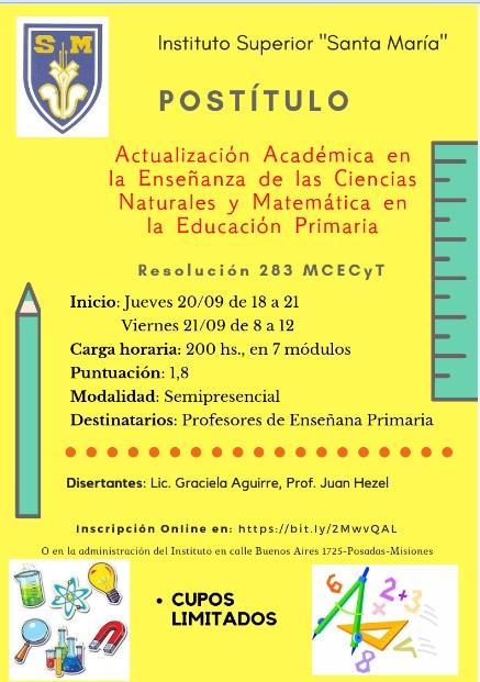 Dictarán un postítulo en educación primaria en el Instituto Santa María de Posadas