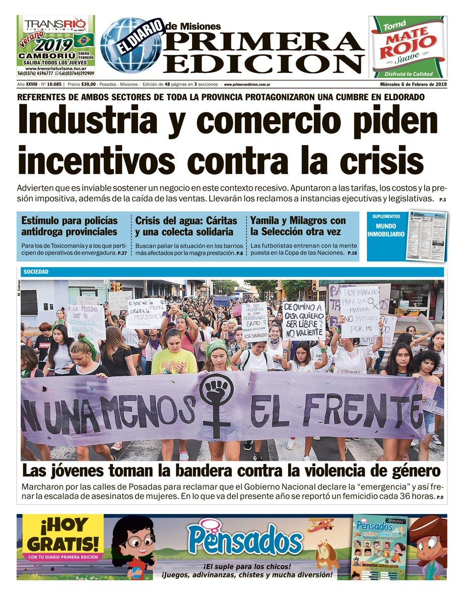 Las tapas del miércoles 6: La caída en la industria y la construcción; las empresas en crisis y las jóvenes salen a la calle