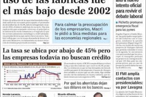 Las tapas de los diarios del miércoles 13: Se acentúa la caída de la producción industrial