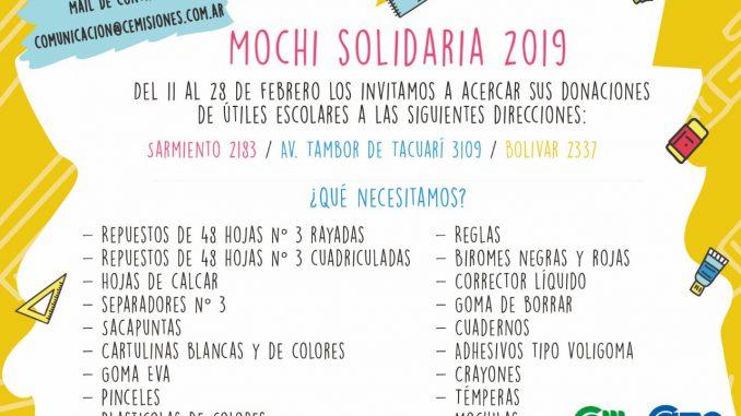 Realizarán la colecta «Mochi Solidaria» en la CEM