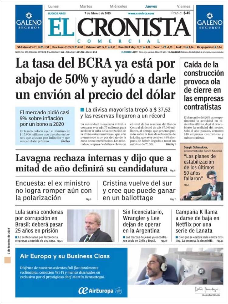 Las tapas del jueves 7: Las tasas del BCRA, la llegada del FMI y la campaña electoral