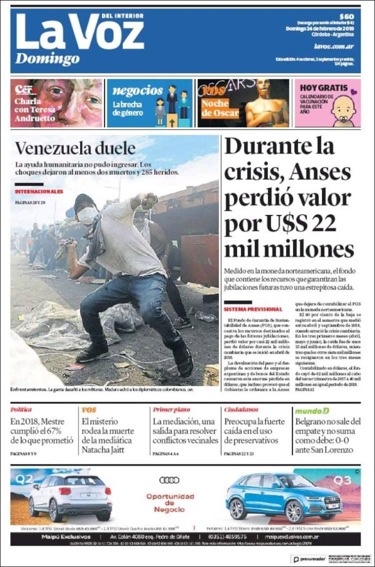 Las tapas de los diarios del domingo: El fondo de la Anses perdió u$s 22 millones por la crisis cambiaria, dijo La Voz