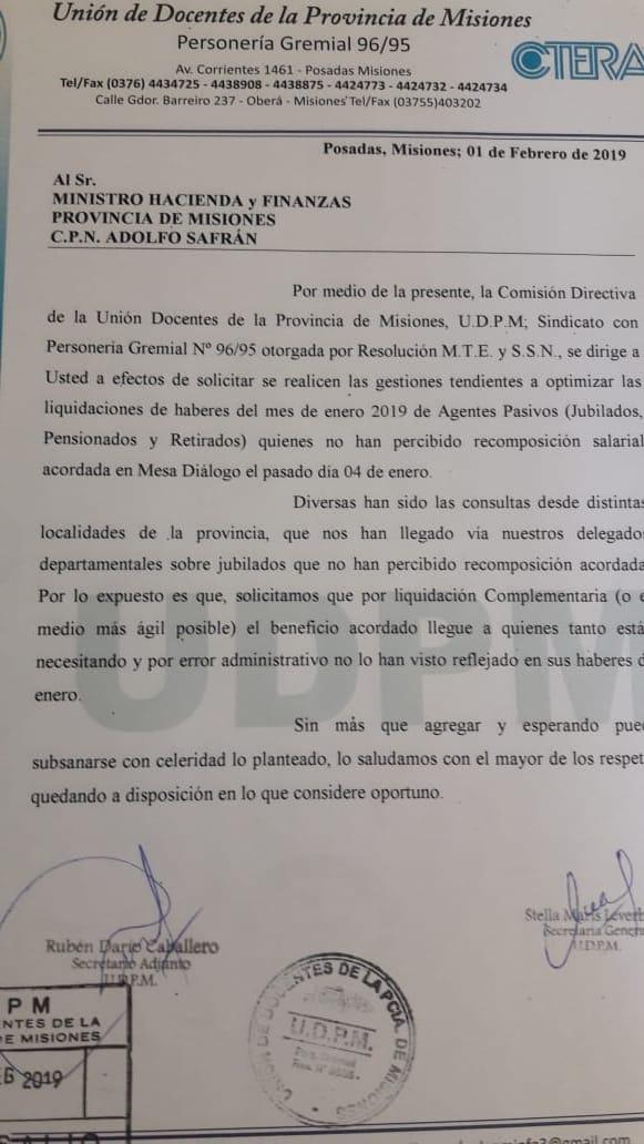 La UDPM solicitó liquidación de suplementarias y reparación de algunos casos de sueldos de jubilados