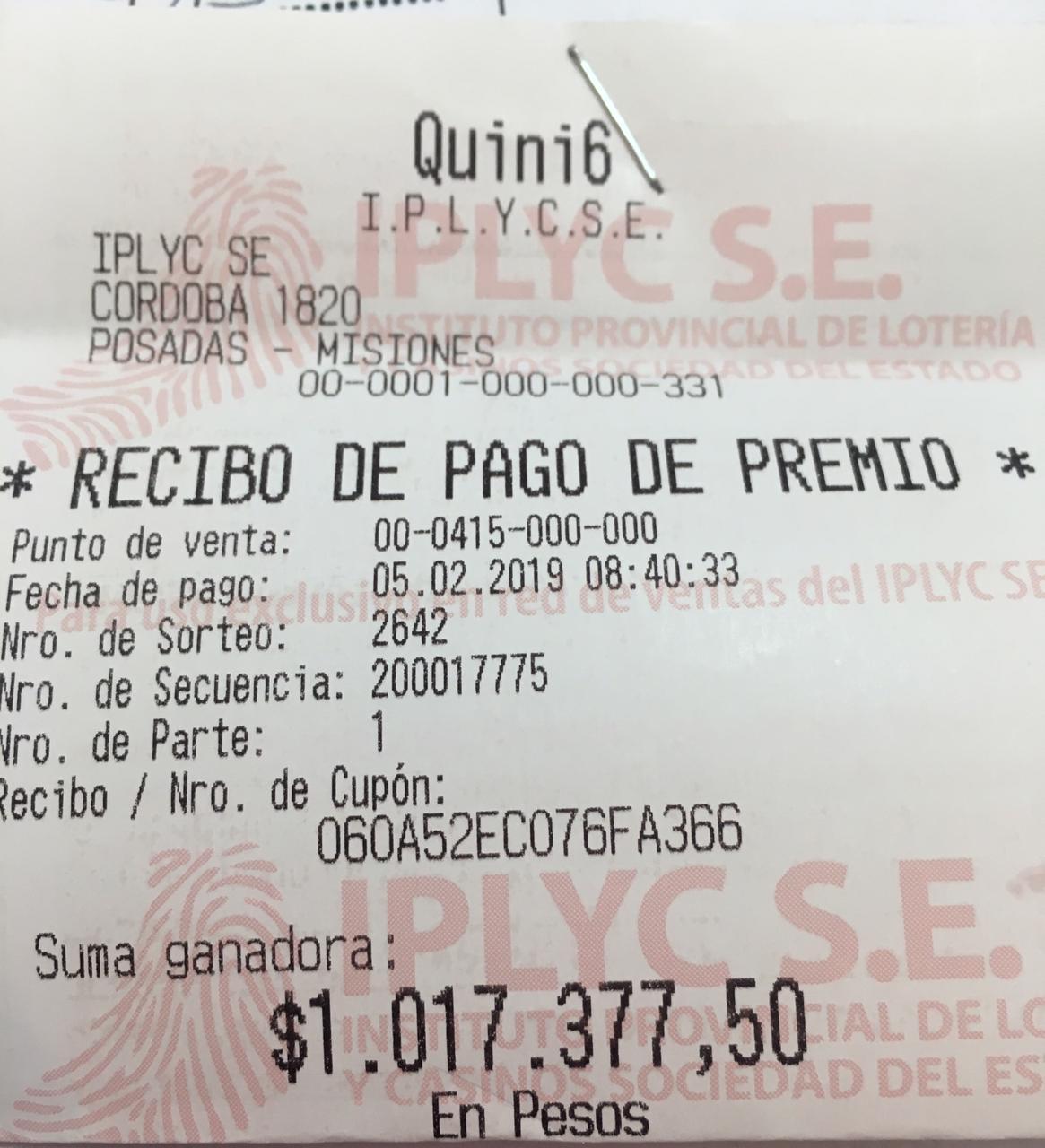 Quini 6 entregó un millón de pesos a apostador de la Zona Norte