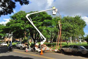 Vialidad instaló luminarias led en la avenida Tambor de Tacuarí