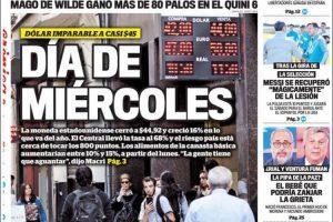 Las tapas del jueves 28: El dólar a 45 y la condena a Menem y Cavallo