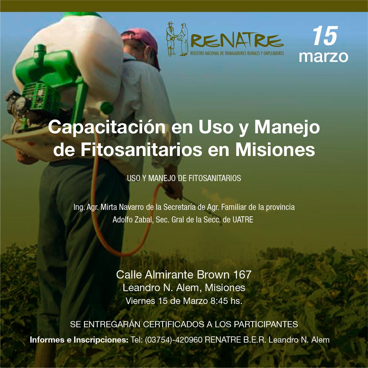 El RENATRE ofrecerá una capacitación en el uso de agentes químicos para trabajadores rurales de Misiones